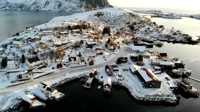 Aerial view scandinavian fishing village on coastline in winter at Lofoten islands, Norway