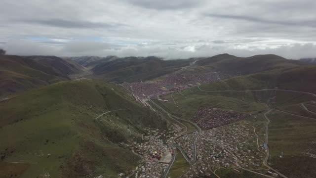 aerial view seda wuming tibetan buddhist institute - seda stock videos & royalty-free footage