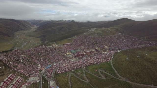 aerial view seda wuming tibetan buddhist institute - organised group stock videos & royalty-free footage