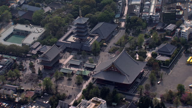 aerial view sensoji temple thunder gate buddhist tokyo - pagoda stock videos & royalty-free footage