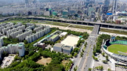 Aerial view Seoul Olympic Park, South Korea.