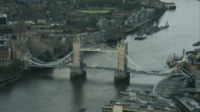 aerial view shard building and tower bridge london - tower bridge stock videos & royalty-free footage