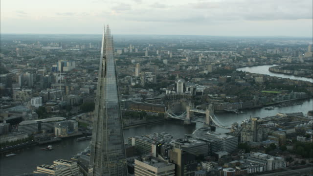 aerial view shard building and tower bridge london - tower of london stock videos and b-roll footage