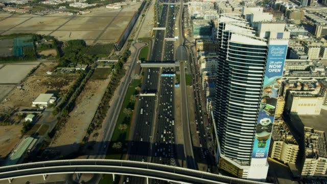 Aerial view Sheikh Zayed road city Skyscrapers Dubai
