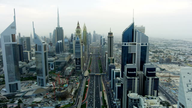 aerial view sheikh zayed road city skyscrapers dubai - dubai stock videos & royalty-free footage