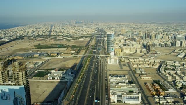 Aerial view Sheikh Zayed road Dubai city skyscrapers