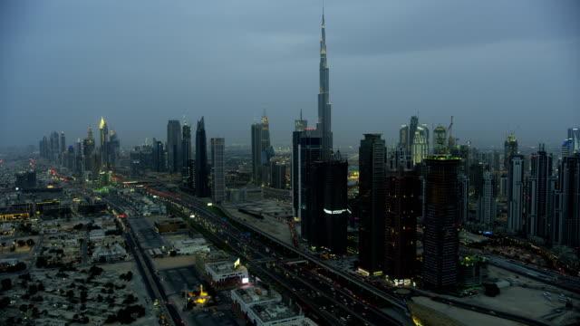 Aerial view Sheikh Zayed road dusk Skyscrapers Dubai