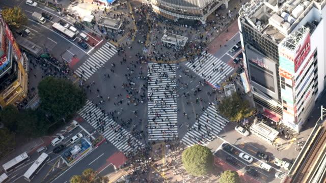 vídeos y material grabado en eventos de stock de vista aérea shibuya crossing en tokio - cruce de shibuya