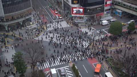 ws aerial view shibuya crossing - shibuya crossing stock videos & royalty-free footage