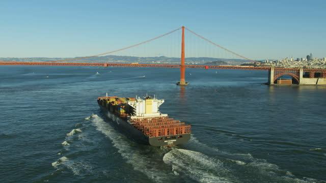 aerial view ship golden gate bridge san francisco - northern california stock videos & royalty-free footage