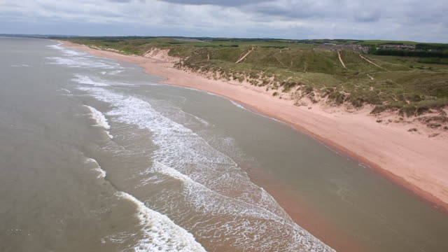 aerial view shoreline at aberdeenshire, scotland - 夏休み点の映像素材/bロール