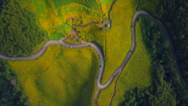 Aerial view shot Beautiful road on the mountain in Mae Hong Son, Thailand