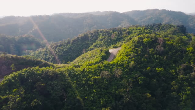 Aerial view shot Beautiful road on the mountain in Tak, Thailand.