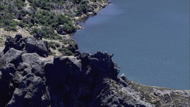 Aerial view Shot of Baengnokdam(crater lake) of Hallasan mountain