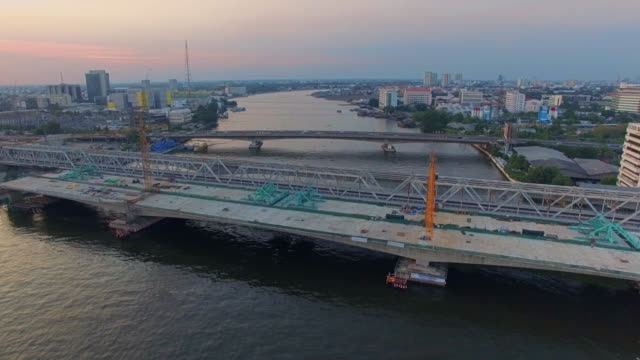 Aerial view shot of bridge construction site