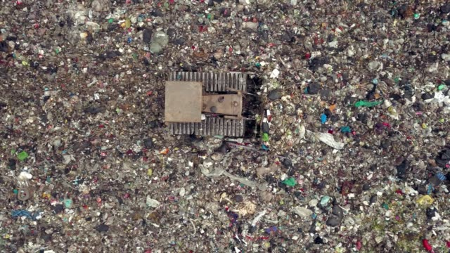 aerial view shot of garbage dump landfill - greenhouse gas stock videos & royalty-free footage