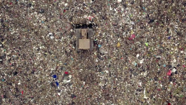 aerial view shot of garbage dump landfill - developing countries stock videos & royalty-free footage