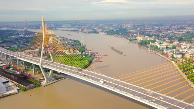 Aerial view shot of Traffic at the Bhumibol Bridge in Thailand