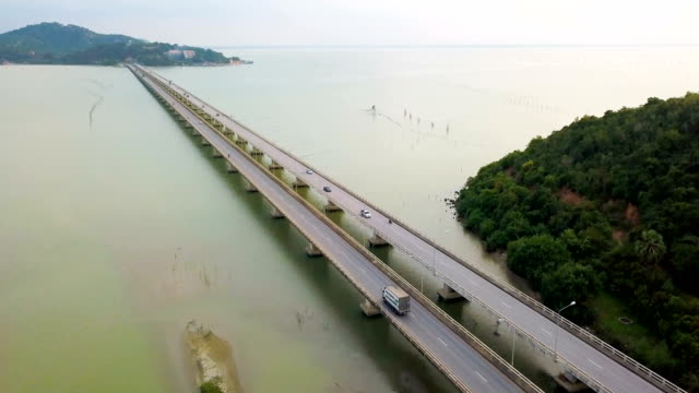 Aerial View Shot of Traffic at the Road Bridge at South in Thailand
