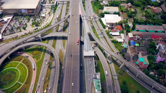Aerial view shot of Traffic highway in Thailand