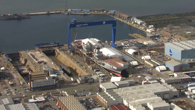aerial view shots of roysyth dockyard in fife where the hms prince of wales ship is due to be launched at the rosyth dockyard in fife scotland on... - プリンス点の映像素材/bロール