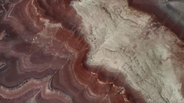 Aerial view showing colorful dirt layers in the desert