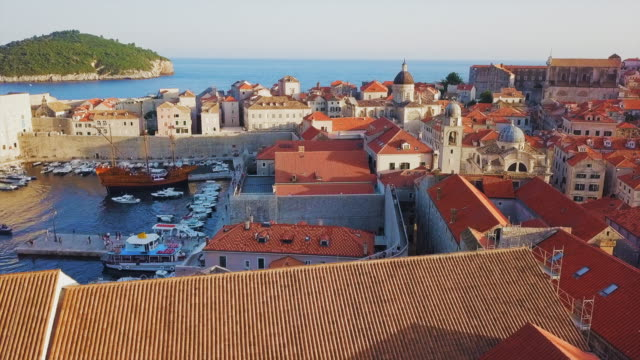 aerial view side of building & dubrovnik old town - old town stock videos & royalty-free footage