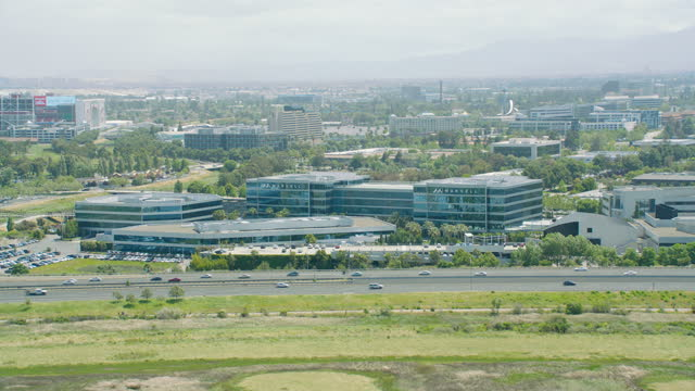 aerial view silicon valley business building california usa - valley stock videos & royalty-free footage