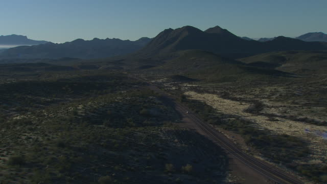 Aerial View Single Road near the Superstition Mountains, Arizona, USA