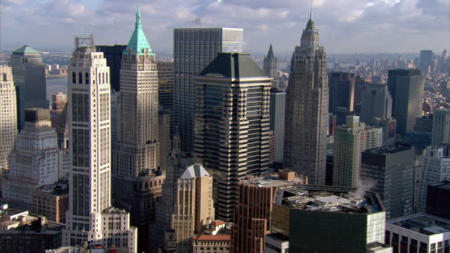 Aerial view skyscrapers in Lower Manhattan / New York City, New York