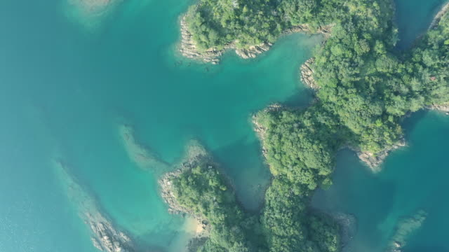 aerial view small islands on the sea - helicopter point of view stock videos & royalty-free footage