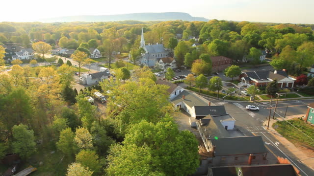 Aerial view small town New England