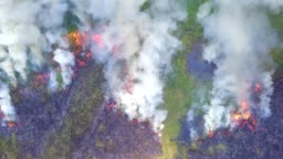 4K, Aerial view smoke of wildfire