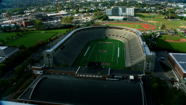 aerial view soldiers field harvard football stadium boston - harvard university stock videos & royalty-free footage