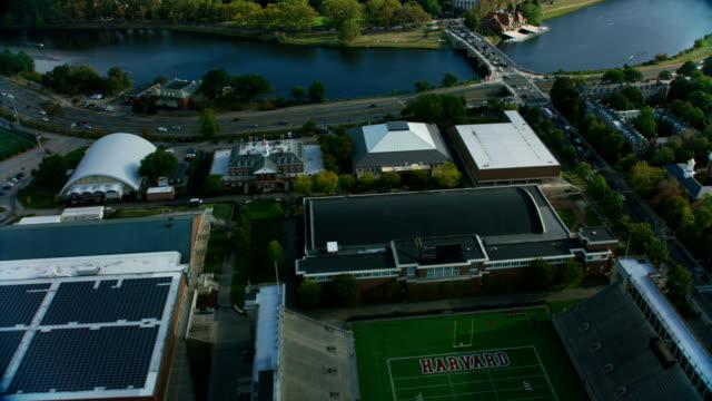 stockvideo's en b-roll-footage met aerial view soldiers field harvard football stadium boston - harvard university