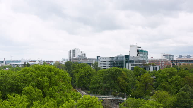 aerial view some highrises in the city center on may 18, 2021 in berlin, germany. - green colour stock videos & royalty-free footage
