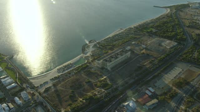 aerial view south fremantle power station coogee perth - フリーマントル点の映像素材/bロール