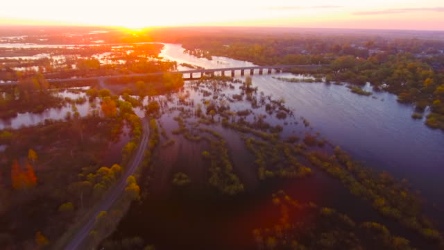Aerial View. Spilling of the Pripyat River. Flying Over The River. Aerial drone shot