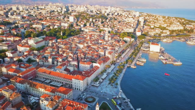 aerial view split city & waterfront - croazia video stock e b–roll