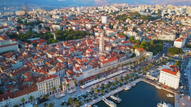 aerial view split waterfront & city - croazia video stock e b–roll