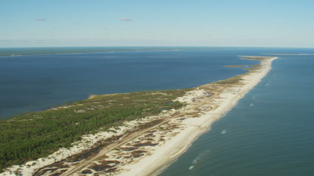aerial view st george sound island state park - gulf coast states stock videos & royalty-free footage
