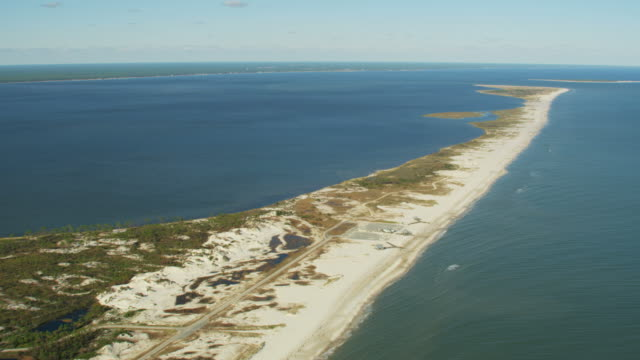 aerial view st george sound island state park - inlet stock videos & royalty-free footage