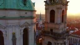Aerial view St. Nicholas church at sunrise