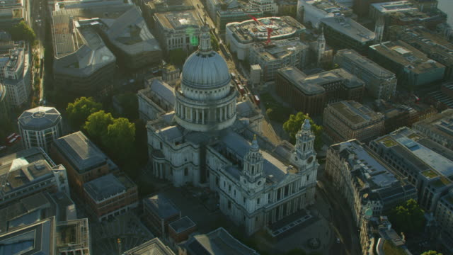 aerial view st pauls cathedral at sunrise london - church stock videos & royalty-free footage