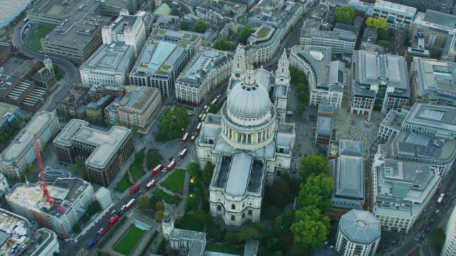 aerial view st pauls cathedral at sunset london - anglican stock videos & royalty-free footage