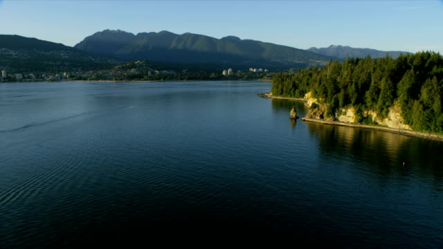 aerial view stanley park vancouver british columbia canada - カナダ バンクーバー点の映像素材/bロール