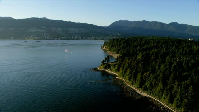 aerial view stanley park vancouver british columbia canada - coastline stock videos & royalty-free footage