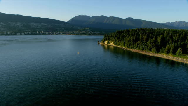 vídeos de stock, filmes e b-roll de aerial view stanley park vancouver british columbia canada - olympic national park