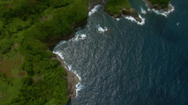 Aerial view steep coastal cliffs of Anse Quanery on the island of Dominica.