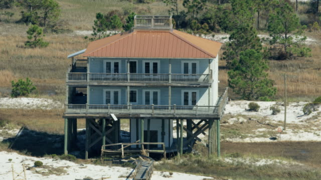 aerial view stilted homes gulf of mexico florida - bay of water stock videos & royalty-free footage